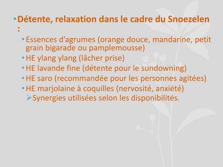 Détente, relaxation dans le cadre du Snoezelen :