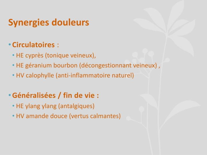 Synergies douleurs