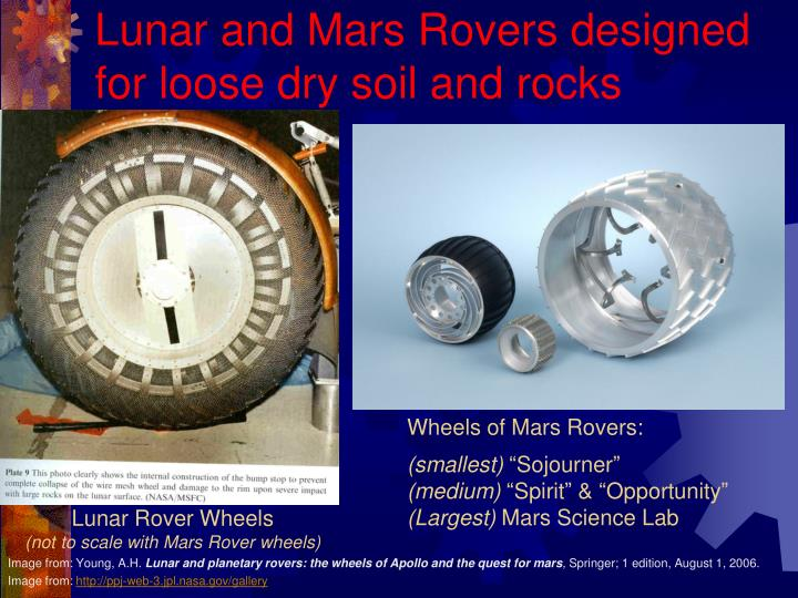 Lunar and Mars Rovers designed for loose dry soil and rocks
