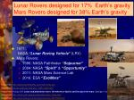 lunar rovers designed for 17 earth s gravity mars rovers designed for 38 earth s gravity