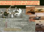 lunar rovers designed for 17 earth s gravity mars rovers designed for 38 earth s gravity1