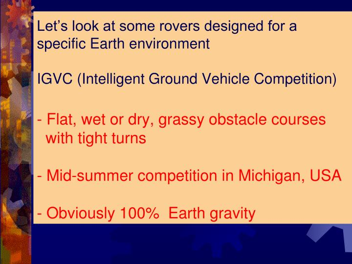 Let's look at some rovers designed for a specific Earth environment
