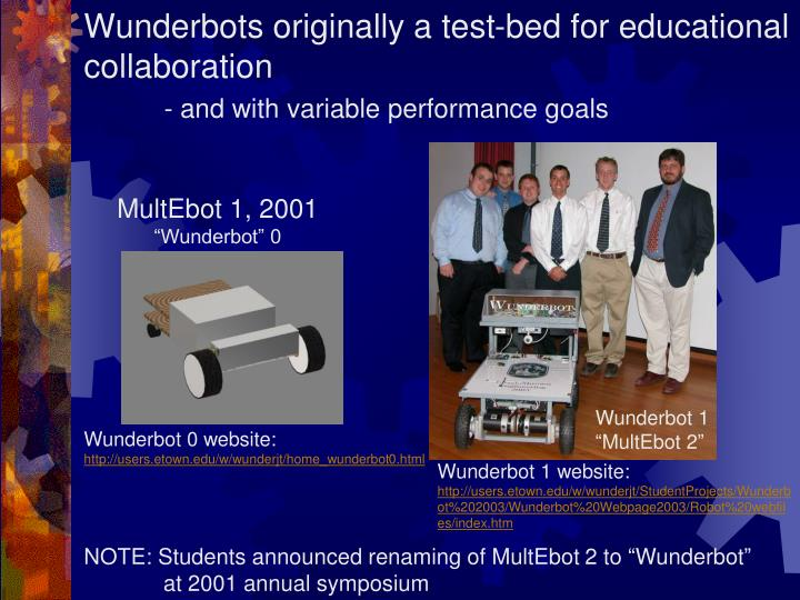 Wunderbots originally a test-bed for educational collaboration