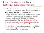 income distribution and trade the stolper samuelson theorem