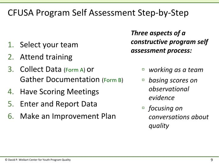 CFUSA Program Self Assessment Step-by-Step