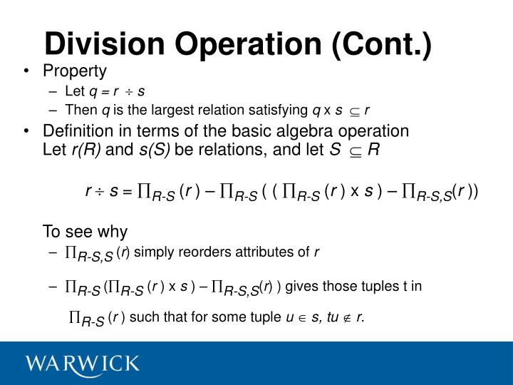 Division Operation (Cont.)