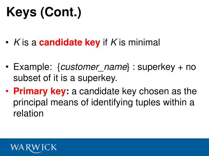 Keys (Cont.)