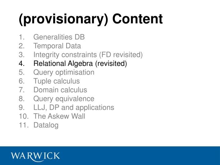 (provisionary) Content