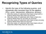 recognizing types of queries