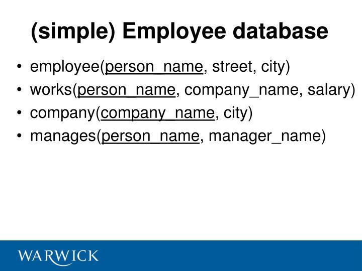 (simple) Employee database