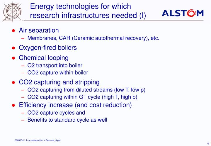 Energy technologies for which research infrastructures needed (I)