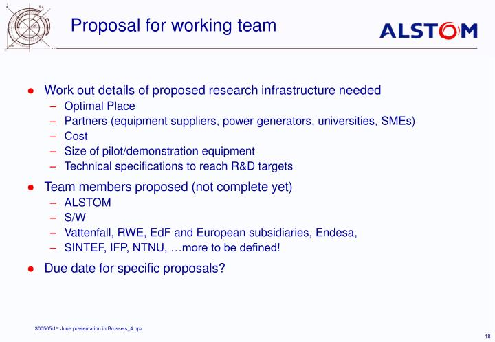 Proposal for working team