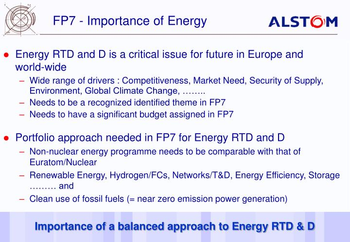 FP7 - Importance of Energy