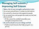 managing self esteem improving self esteem