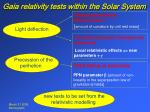 gaia relativity tests within the solar system