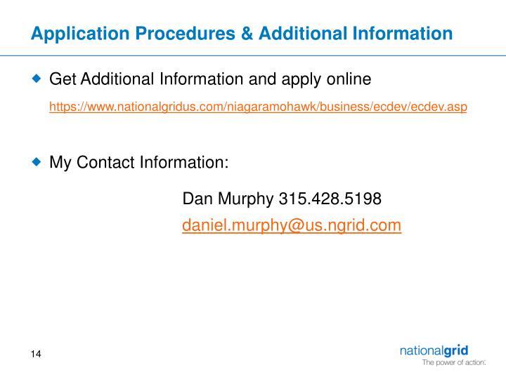 Application Procedures & Additional Information