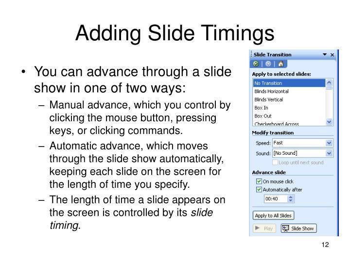 Adding Slide Timings