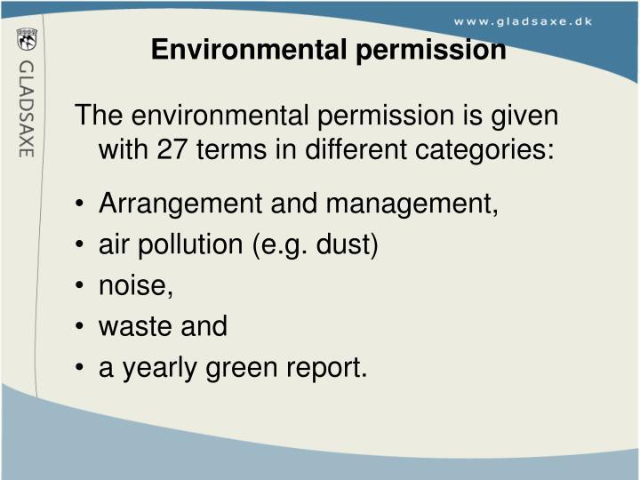 Environmental permission