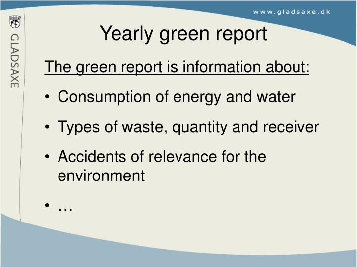 Yearly green report