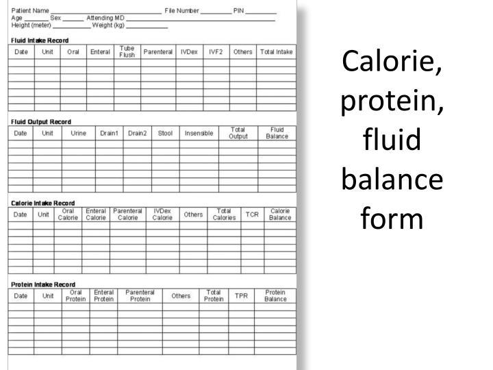 Calorie, protein, fluid balance form