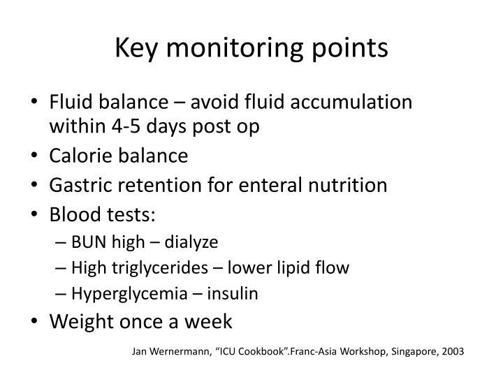 Key monitoring points