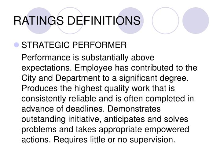 RATINGS DEFINITIONS