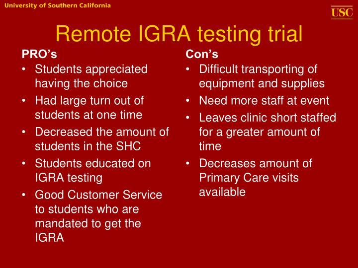 Remote IGRA testing trial