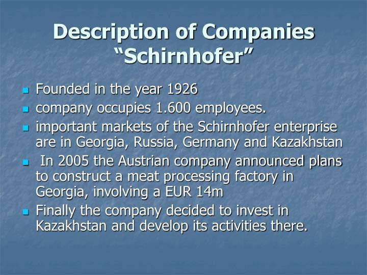 Description of Companies