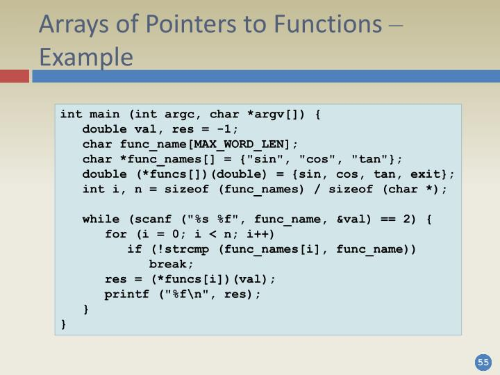 Arrays of Pointers to Functions