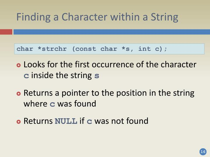 Finding a Character within a String