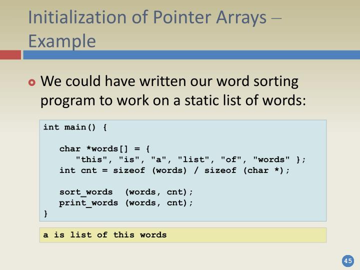 Initialization of Pointer Arrays