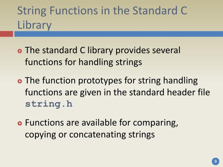 String Functions in the Standard C Library