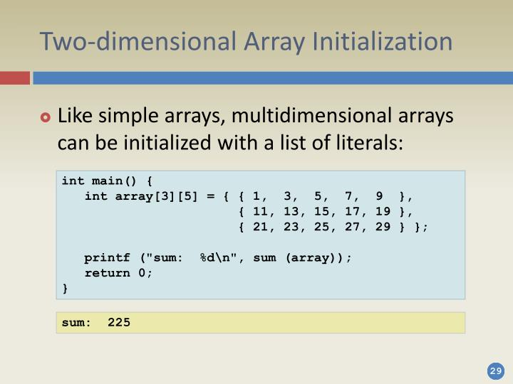 Two-dimensional Array Initialization