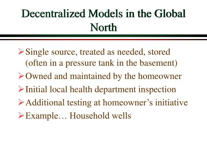 Decentralized Models in the Global North