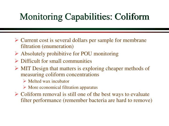 Monitoring Capabilities: Coliform
