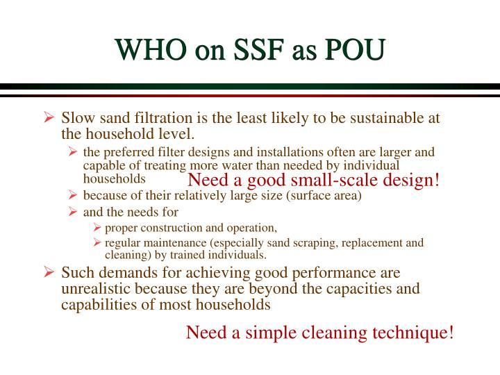 WHO on SSF as POU