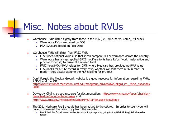 Misc. Notes about RVUs