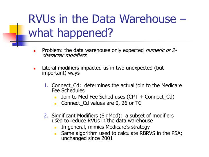Rvus in the data warehouse what happened1