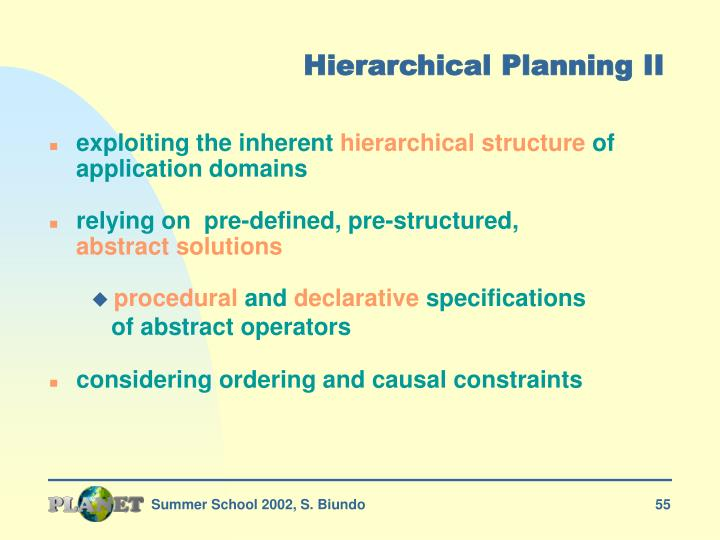 Hierarchical Planning II