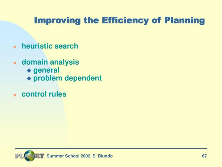 Improving the Efficiency of Planning