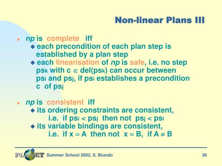 Non-linear Plans III