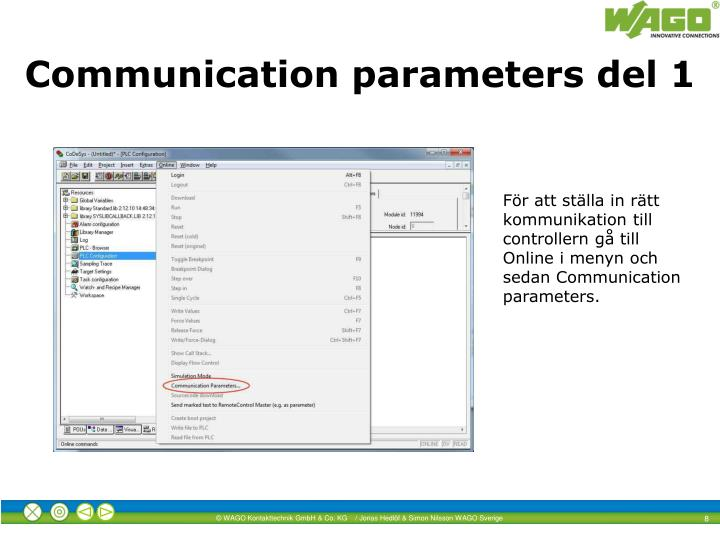 Communication parameters del 1