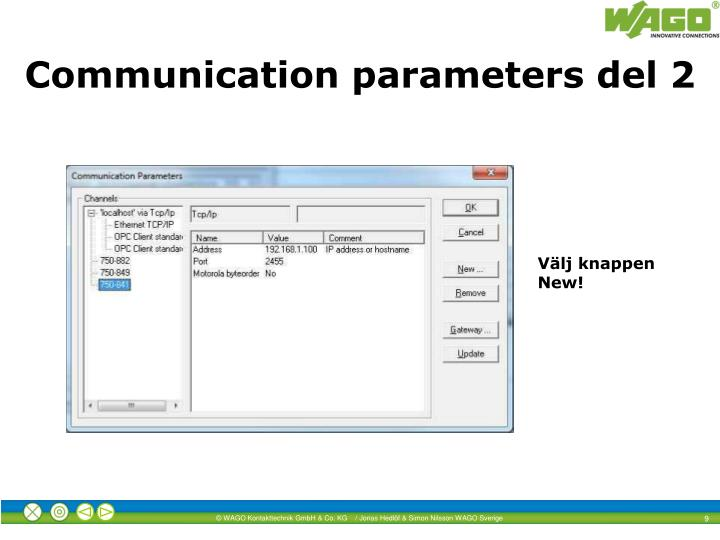 Communication parameters del 2