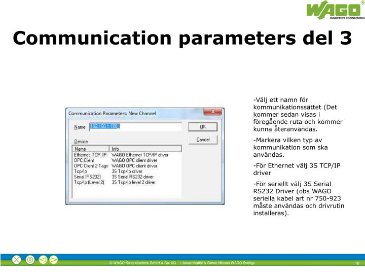 Communication parameters del 3