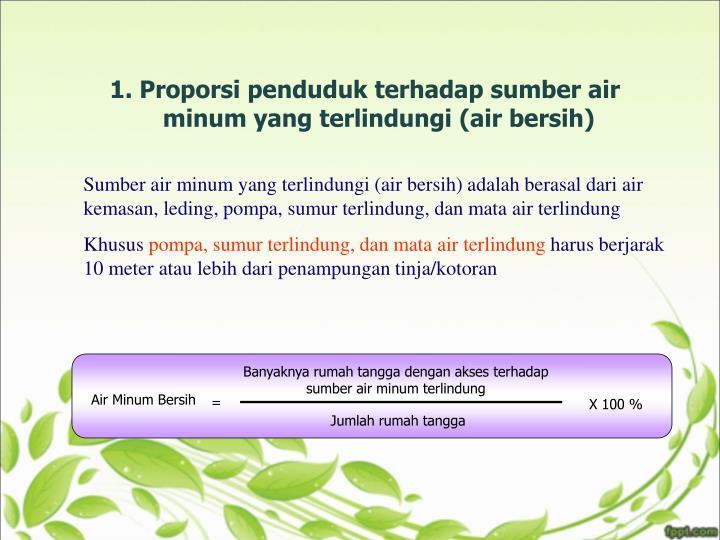 1. Proporsi penduduk terhadap sumber air minum yang terlindungi (air bersih)