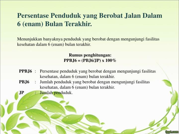 Persentase Penduduk yang Berobat Jalan Dalam 6 (enam) Bulan Terakhir.