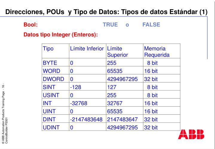 Direcciones, POUs  y Tipo de Datos: Tipos de datos Estándar (1)