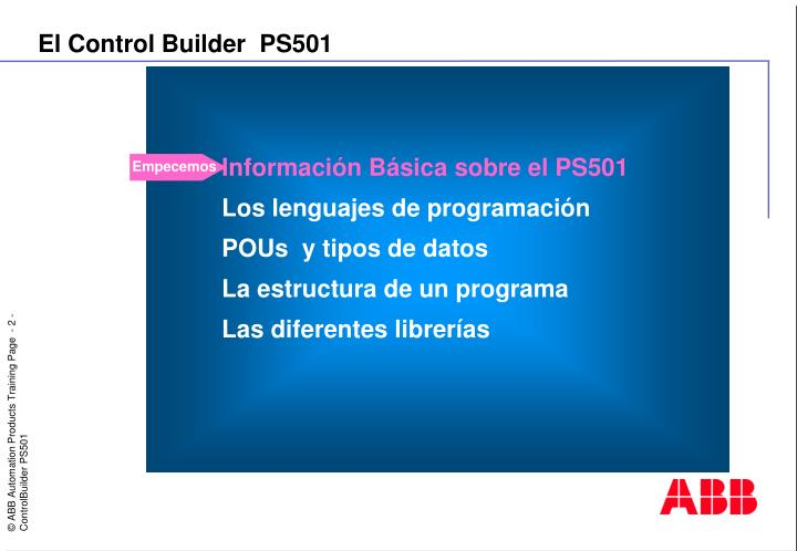 El Control Builder  PS501