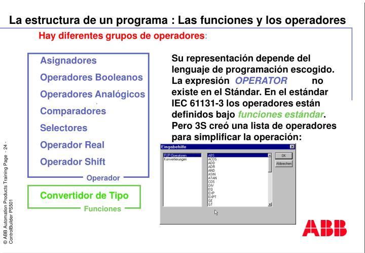 La estructura de un programa : Las funciones y los operadores