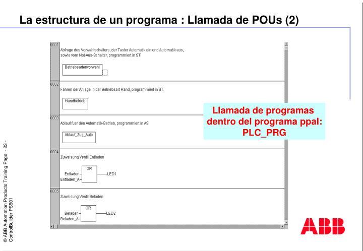 La estructura de un programa : Llamada de POUs (2)